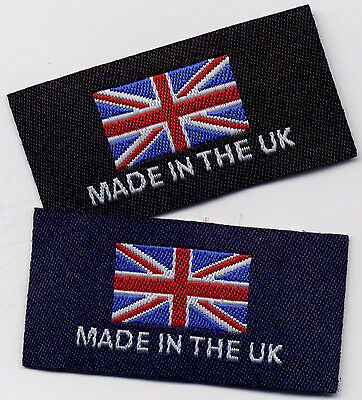 Woven Garment Labels Made In The UK 25mm X 50mm, Pack Of 10 • 2.98£