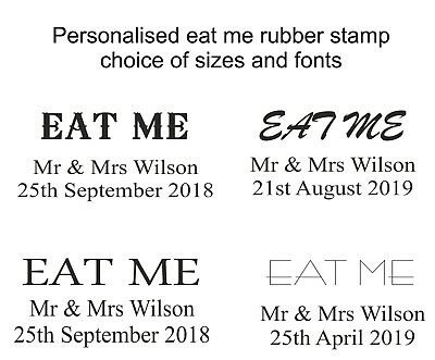£6.95 • Buy Personalised EAT ME Wedding Rubber Stamp Party Tags, Bags, Sweets, Favours Gift