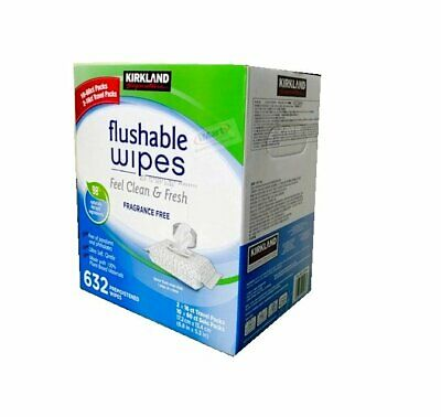 AU44.87 • Buy 632 Kirkland Signature Moist Flushable Wipe 600 Wipes  + 2x16ct Travel Packs NEW
