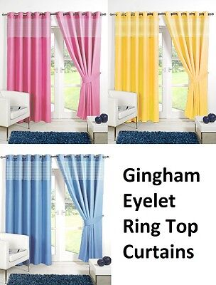 £10.95 • Buy CHILDRENS GINGHAM Thermal Blackout  Curtains EYELET / RING TOP + FREE TIE BACKS