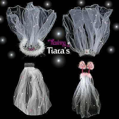 £6.25 • Buy BRIDE TO BE VEIL Hen Night Party Tiara & Accessories Inc.Flashing Bride To Be