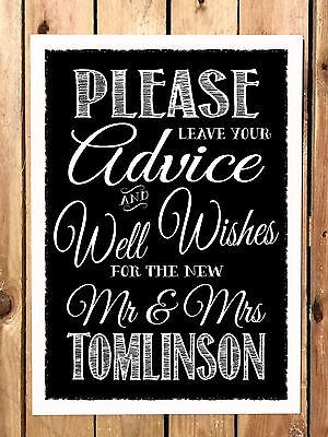 £5 • Buy GUEST BOOK SIGN A4 Vintage Chalkboard Style PERSONALISED WEDDING WISH TREE SIGN