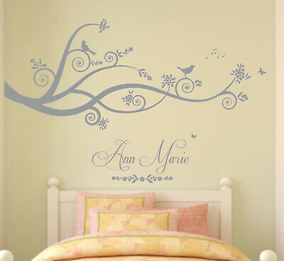 Personalised Name, Tree, Branches, Nature, Wall Art Sticker. Diamantes/Pearls • 20.99£