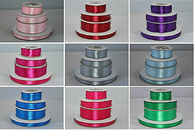 Full Roll Double Sided Faced Satin Ribbon - Various Colours And Widths • 2.95£
