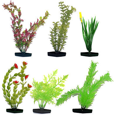 Large Aquatic Plastic Plants - Pack Of 6 Different Plants • 5.99£