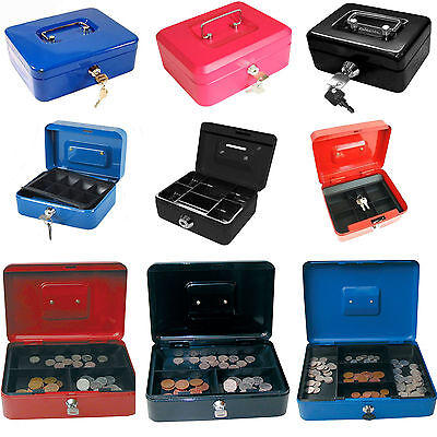 Small Large Petty Cash Money Box Safe Tin With Key Lockable 4 6 8 10 12 Inch • 7.99£