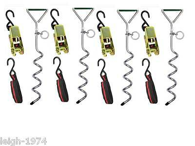 £38.30 • Buy Ratchet Ropes Straps Tie Down Anchor Stakes Strap Kit Pegs Gazebo Marquee NEW