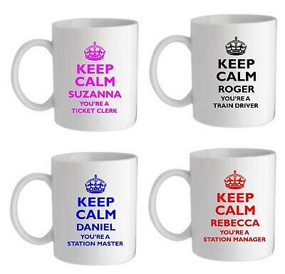 £8.95 • Buy Personalised Keep Calm Gift Mug Train Driver Station Manager Any Title Name Gift