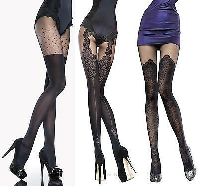 Fiore Collection Patterned Tights 40 Denier Mock Suspender Stockings Tights New • 5.39£