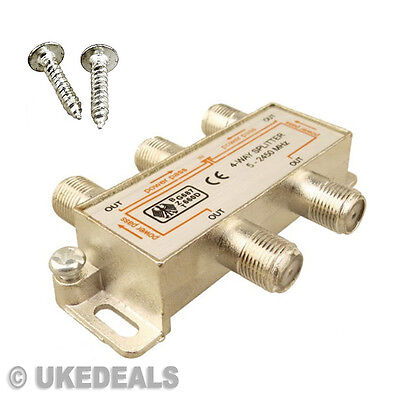£103.81 • Buy SATELLITE SIGNAL SPLITTER 4 WAY FEMALE CATV COAXIAL TV AERIAL CABLE 5-2400MHz NW