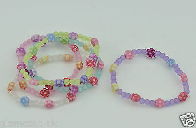 £3.99 • Buy Childrens Daisy Frosted Beads Bracelets Pastel Colours Party Bag Fillers 5 X Pkt