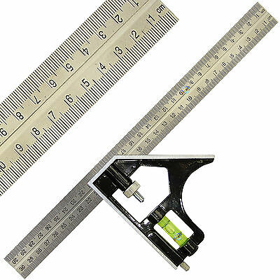 Combination Square Adjustable 12  (300mm) Combination Measuring Set Square • 4.99£