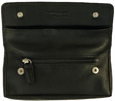 £16.99 • Buy Tobacco Pouch Case With Rubberised Lining Quality Real Leather In Black