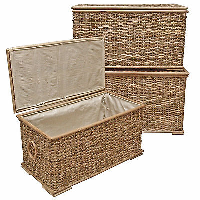 Wicker Shoe Basket, Storage Chest, Lined Laundry Trunk - Rustic Rattan  • 39.99£