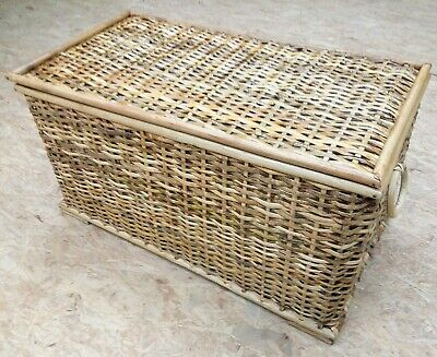 Wicker Storage Trunk Basket Chest Lined Rustic Rattan Slight Seconds HALF PRICE • 32.50£