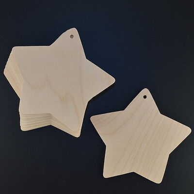 Wooden Stars 110mm Wide Craft Shapes 3mm Birch Plywood Embellishments X 10 • 3.99£