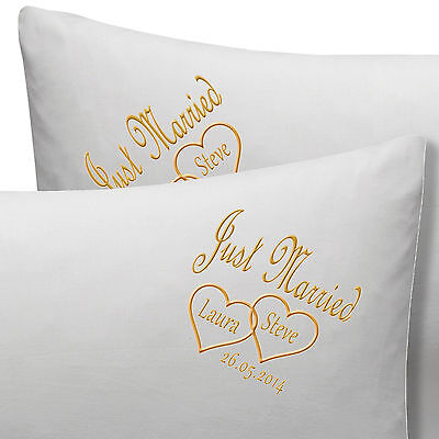 PERSONALISED JUST MARRIED Or ANNIVERSARY WEDDING PILLOW CASES NAMES, DATE • 19.99£