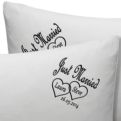 Personalised Embroidered Anniversary / Wedding Pillow Cases Names, Date • 19.99£