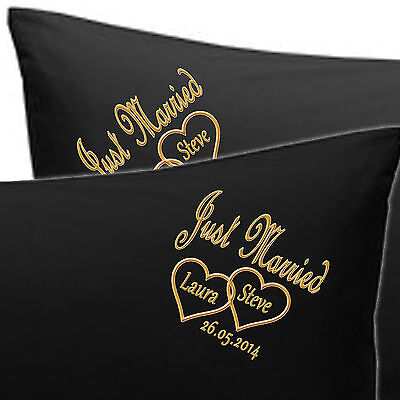 PERSONALISED EMBROIDERED PILLOW CASES JUST MARRIED Bride N Groom NAMES, DATE • 19.99£