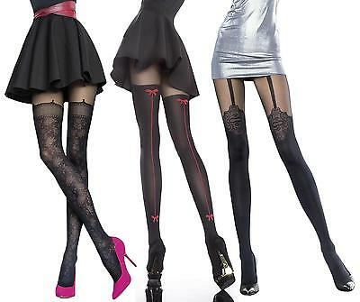 Mock Suspender Stockings Tights Fiore Collection Patterned Tights 40 Denier New • 4.99£