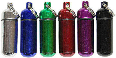 $9.69 • Buy 6pc Color Waterproof Aluminum Pill Bottle Cache Drug Holder Container Keychain