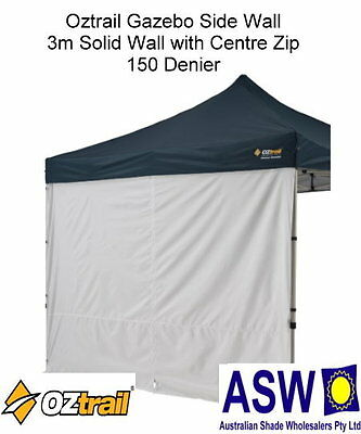 AU45 • Buy 3m GAZEBO SIDE WALL With CENTRE ZIP Oztrail SOLID WHITE Deluxe