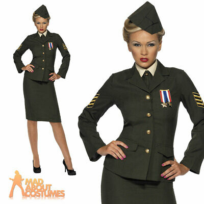 Wartime Costume 1940's WW2 Army Officer Uniform Womens Fancy Dress Ladies Outfit • 36.49£