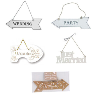 Wedding Sign - Party Arrow, Just Married, Wedding Parking Hanging White Signs • 4.49£