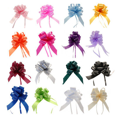 50mm LARGE PULL BOWS Quality Wedding Gift Wrap Xmas Party Poly Floristry Bow • 1.99£