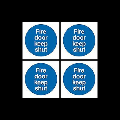 Fire Door Keep Shut Sign, Sticker Pack Of 4 - 85mm X 85mm - Escape, Closed, Exit • 1.49£