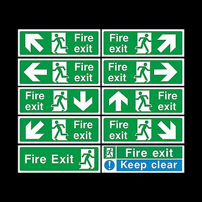Fire Exit Sign, Sticker - All Sizes & Materials - Emergency, Escape, Fire Drill • 0.99£