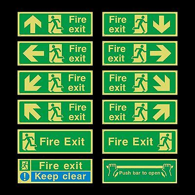 £1.89 • Buy Fire Exit Photoluminescent Plastic Sign - 300mm X 100mm - All Direction Arrows
