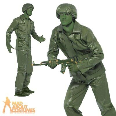 Toy Story Soldier Costume Mens Plastic Army Fancy Dress Stag Do Outfit Green  • 23.49£