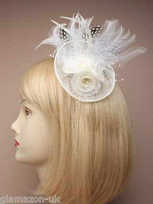 Fascinator Ivory Cream With Hessian Rosette & Feather Weddings Races Proms • 12.99£