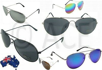AU9.95 • Buy Mens Womens Aviator Sunglasses Smoke Mirror Lens Silver Black Designer Sunnies