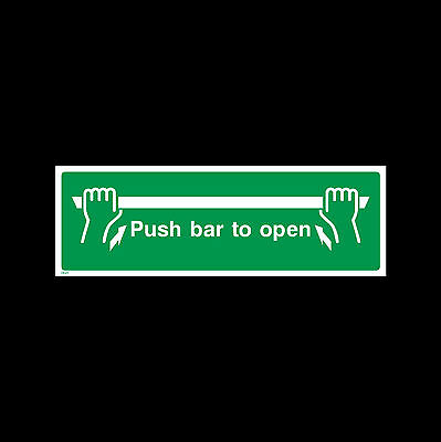 Push Bar To Open Sign, Sticker - All Sizes & Materials - Fire, Escape - (EE23) • 1.07£