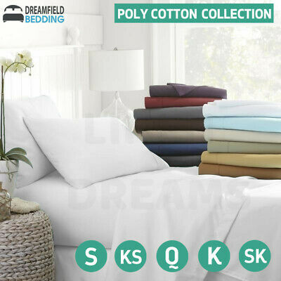 AU32 • Buy All Size Poly Cotton Sheet Set Plat Fitted Sheet Pillowcase Bedding Queen King