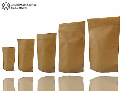 Kraft Paper  Bag/ Pouch Stand Up Sealable  |  Coffee | Seeds Nuts Grip Heat Seal • 4.93£