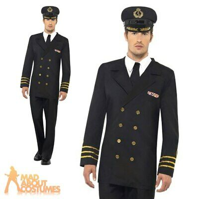 Mens WW2 Navy Officer Costume 1940s Naval Uniform Military Fancy Dress Outfit • 28.49£