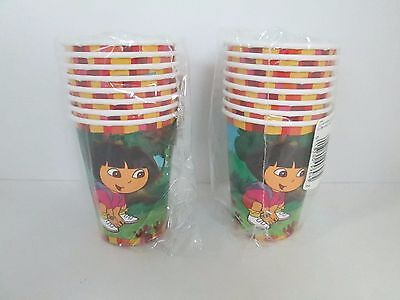 DORA THE EXPLORER HOT / COLD CUPS  8 Pk - LOT OF 2 PACKAGES - PARTY SUPPLIES • 7.17£