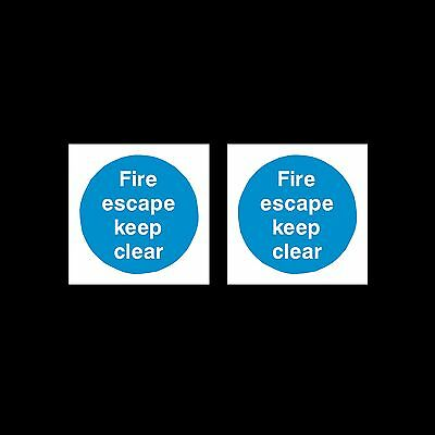 Fire Escape Keep Clear - Sign, Sticker - 85mm X 85mm - Pack Of 2 • 1.29£