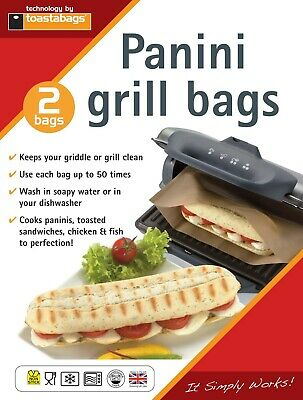 2 X Panini Grill Bags - Reusable Up To 50 Times Each - Toastabags  • 2.99£