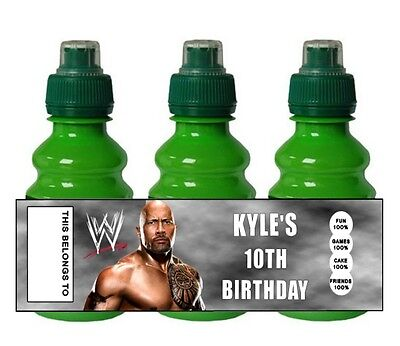 PERSONALISED WWE Wrestling  FRUIT SHOOT BOTTLE LABEL Party Bag Fillers • 0.99£
