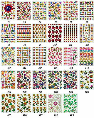 #384S Floral Flower Insect Bug Reward Animal Craft Card Scrapbooking Stickers  • 0.99£