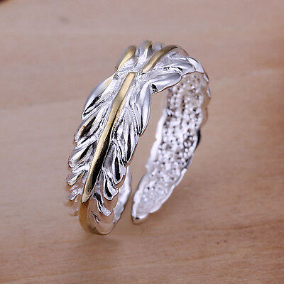 £3.99 • Buy *UK Shop* SILVER PLATED GOLD ADJUSTABLE LEAF FEATHER RING OLIVE WRAP THUMB IVY