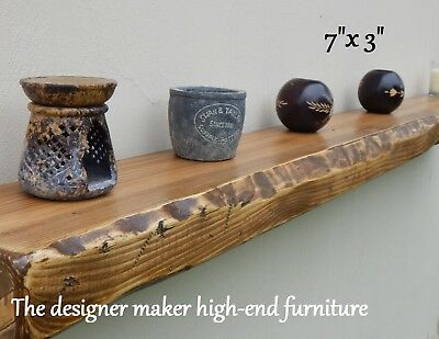 Rustic Floating Shelf Wood Reclaimed Distressed Mantle Mantel Timber Beam Sale  • 76£
