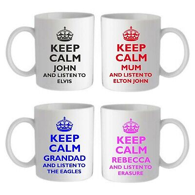 £8.95 • Buy Personalised Keep Calm Listen To... Music Mug Fathers Day Birthday Gift Mum Dad