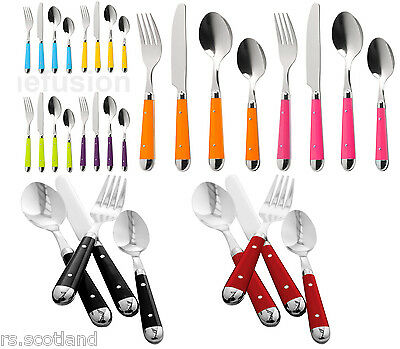 New 16pc Brasserie Cutlery Set Stainless Steel Kitchen Dining 8 Colours • 26.98£