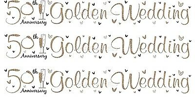 50th Golden Wedding Anniversary White And Golden Foil Banners (se) • 1.50£