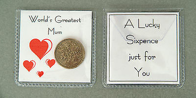 Lucky Sixpence Gift - Worlds Greatest Relative, Mum, Dad, Sister, Brother, Gran  • 2.25£